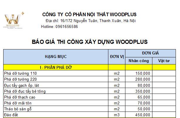 Bảng thi công xây dựng WoodPlus - 1