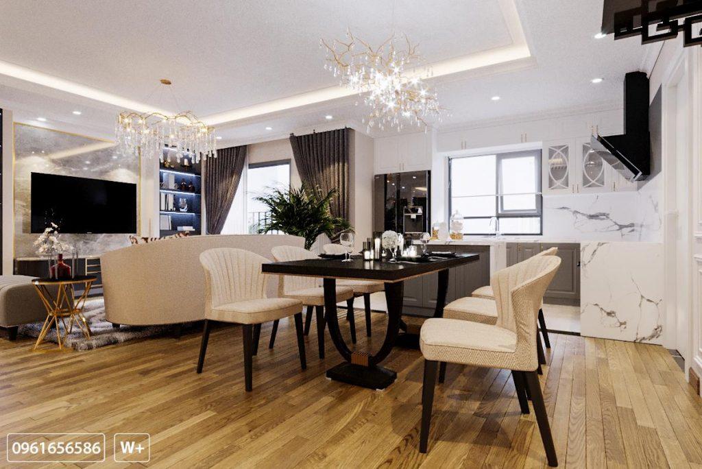 Góc không gian bàn ăn và bếp khá thông thoáng trong không gian phòng khách