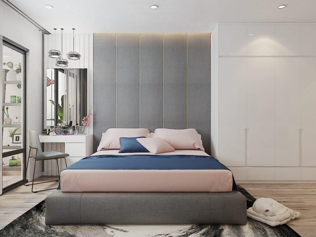 Chính diện giường ngủ xinh tươi trong phòng ngủ master