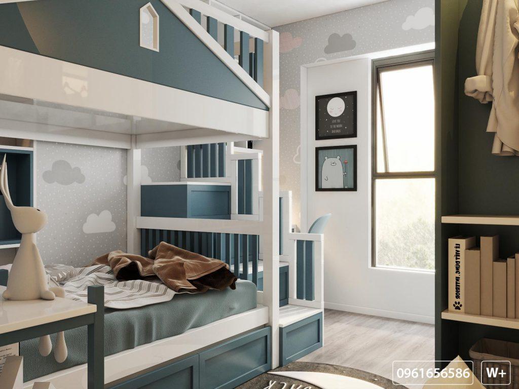 Một góc giường tầng nhìn ra không gian thiên nhiên bên ngoài