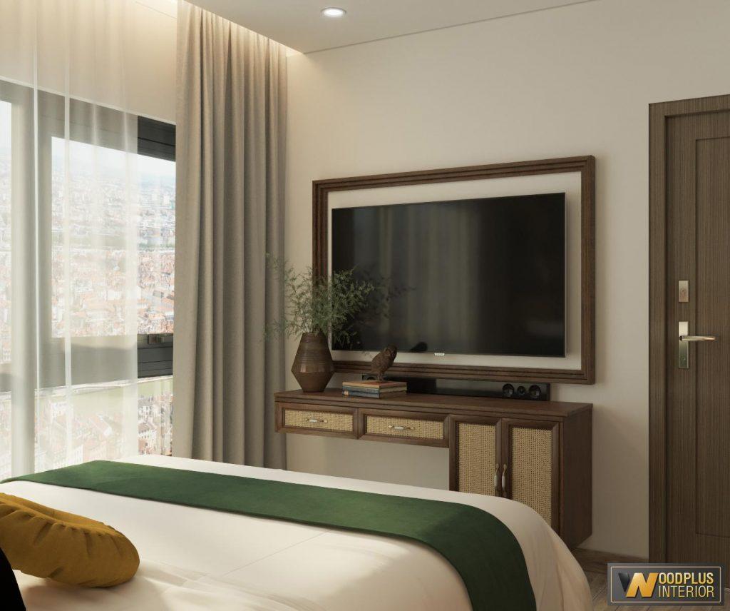 Góc treo tivi tinh tế tiện lợi trong phòng ngủ master