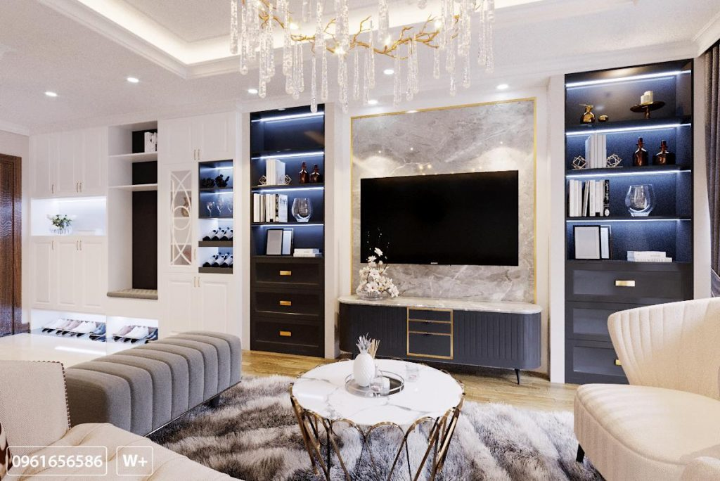 Tủ tivi cùng hệ tủ trang trí rất đẹp và sang trọng