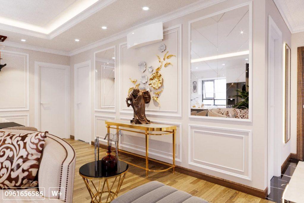 Một góc phòng khách xinh tươi, với bức tựng đặc biệt