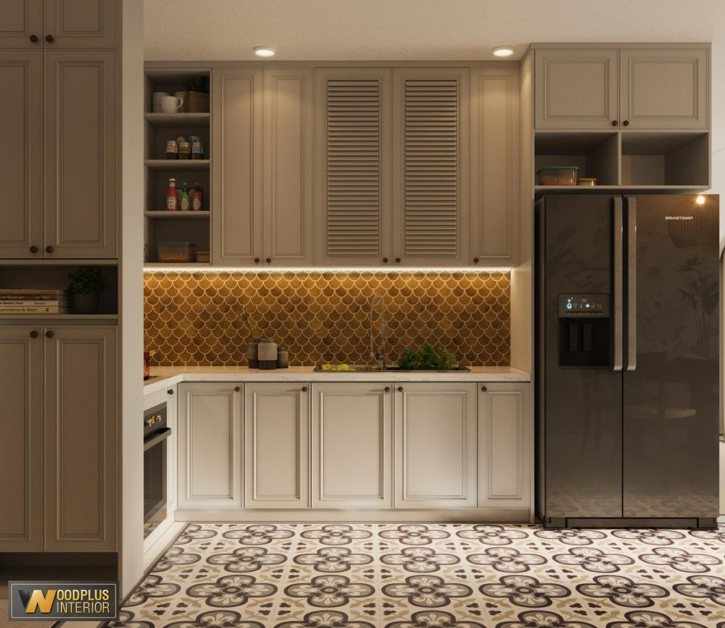 Phòng bếp được thiết kế theo hình chữ L hiện đại và sang chảnh