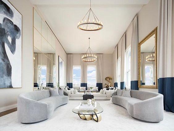 Phòng khách thiết kế phong cách Pháp đơn giản, hiện đại