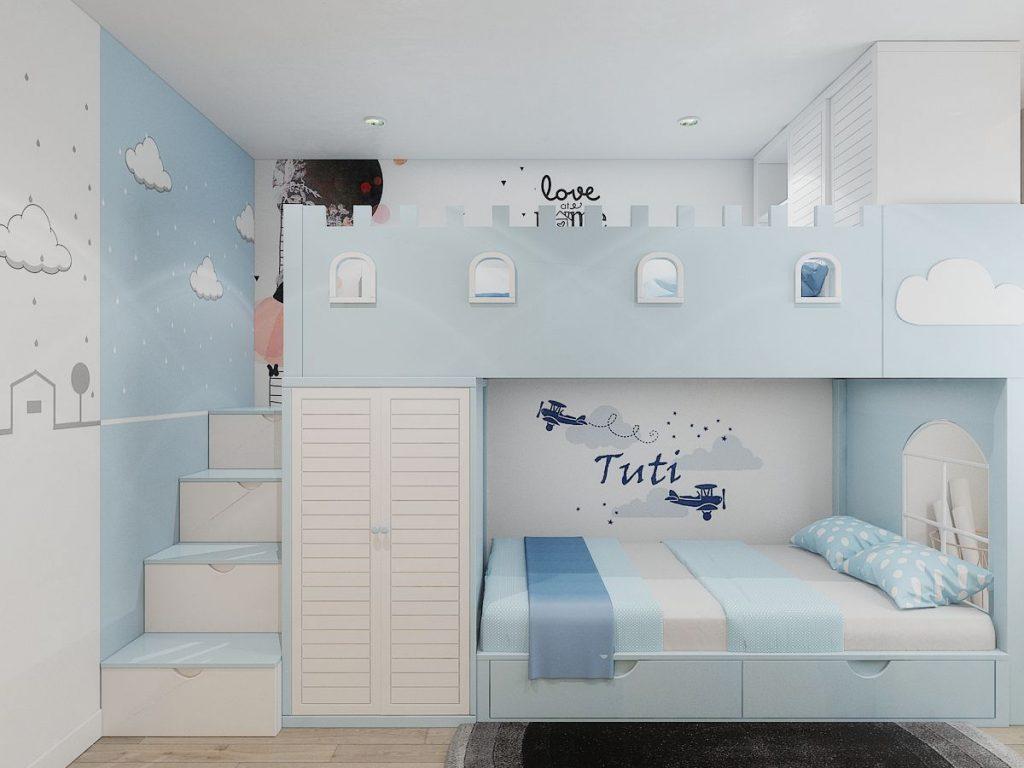 Phòng ngủ bé trai với tông màu xanh rất đáng yêu