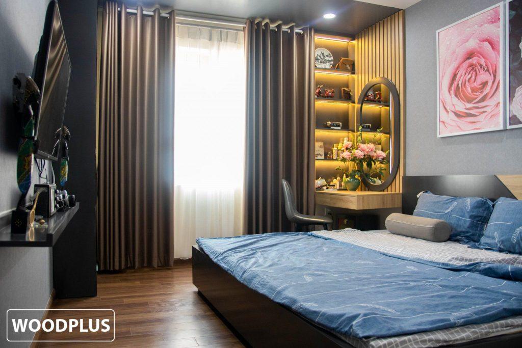 Phòng ngủ master vô cùng xinh tươi căn hộ anh Minh chị Ánh