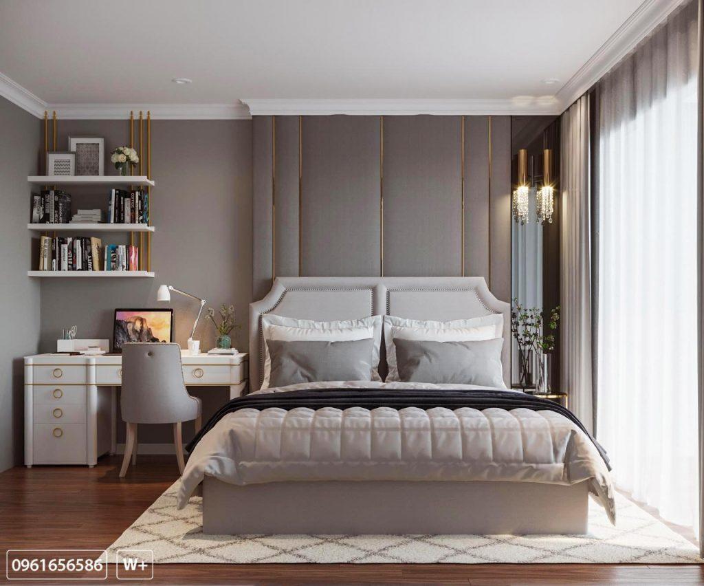 Phòng ngủ master sang trọng tràn ngập ánh sáng tự nhiên