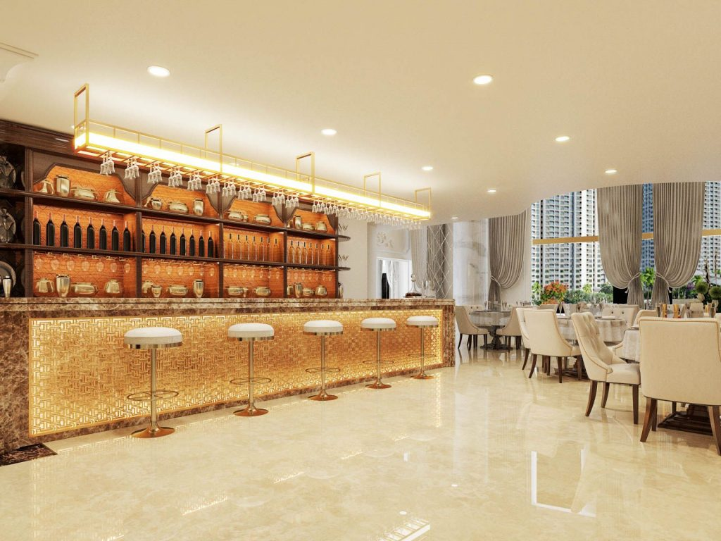 Khu vực quầy bar với nhiều lựa chọn đồ uống cho thực khách