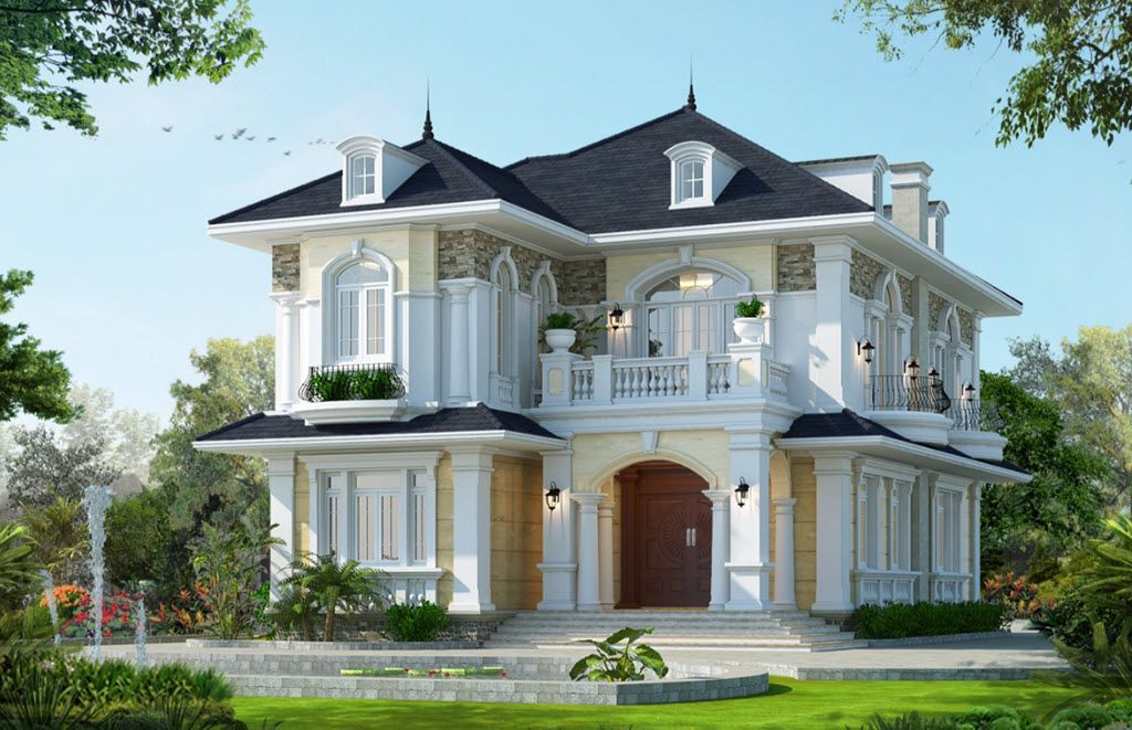 Mẫu biệt thự 2 tầng với sân vườn cực đẹp