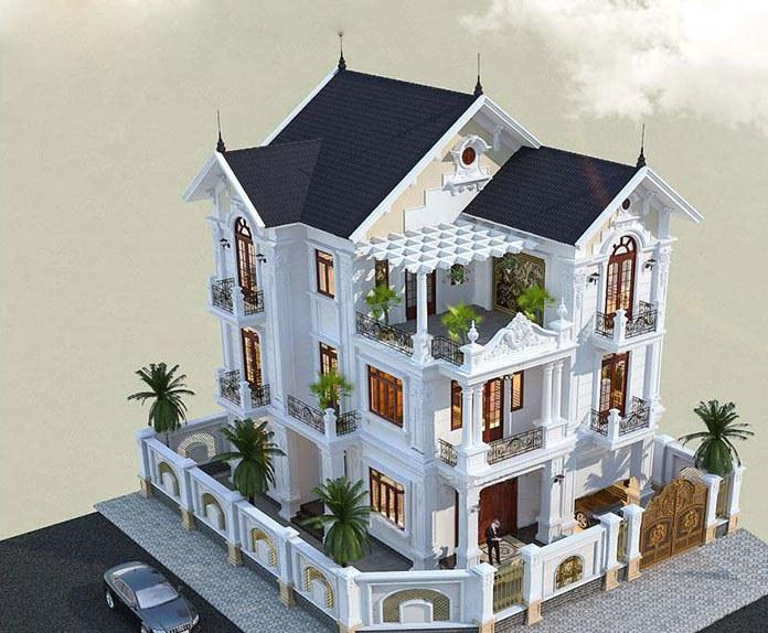 Thiết kế biệt thự tân cổ điển sự hài hòa giữa hiện đại và kiểu Pháp