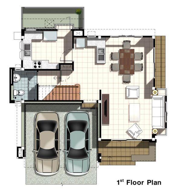 Mặt cắt ngang của tầng 1 - thiết kế nhà hình vuông 10x10 2 tầng có gara