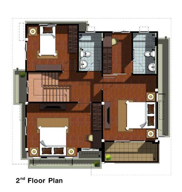 Mặt cắt ngang của tầng 2 - thiết kế nhà hình vuông 10x10 2 tầng có gara