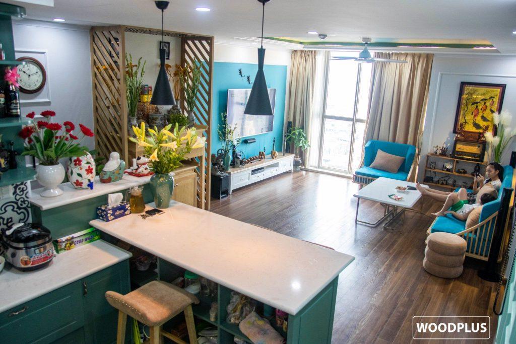 Tổng thể phòng khách căn hộ anh Minh chị Ánh chung cư Hòa Phát