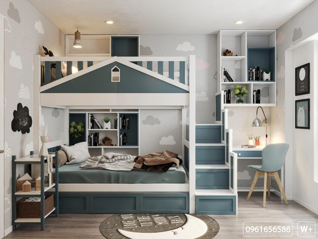 Trực diện giường tầng phòng ngủ bé trai nhà văn Huyền Trang Bất Hối