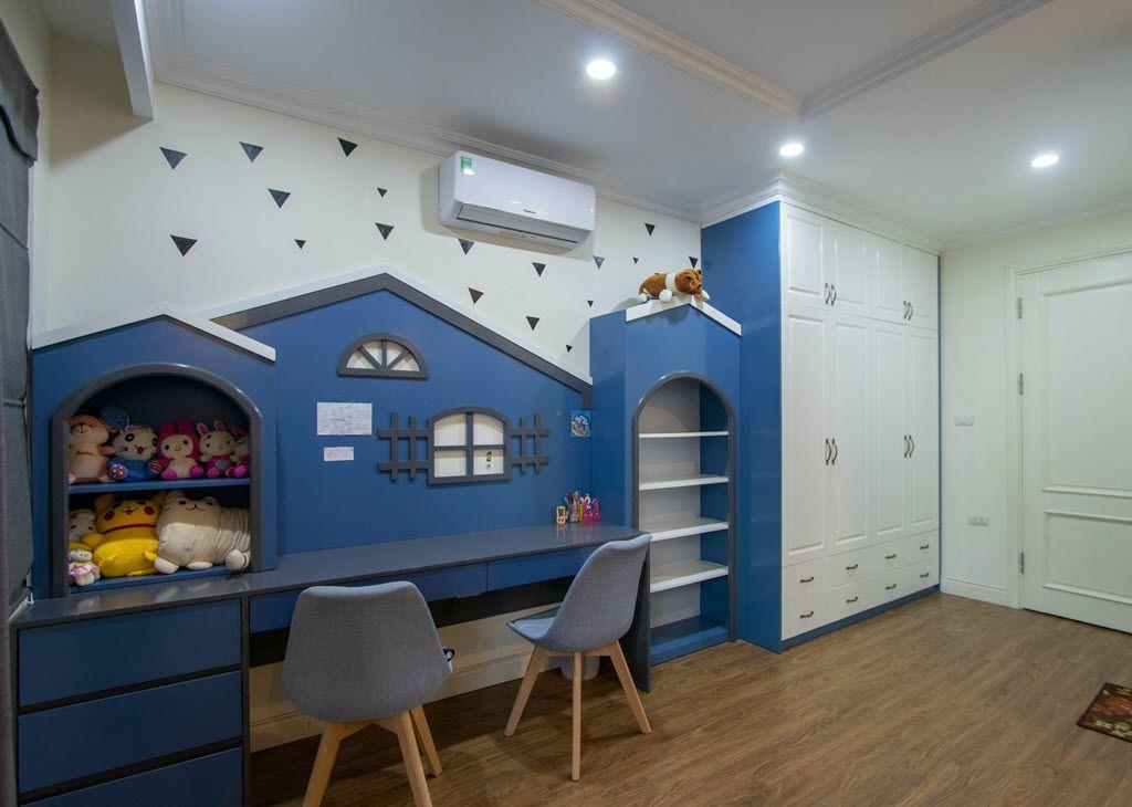 Bàn học và tủ quần áo liên kề 1 khối cho không gian phòng ngủ trẻ em thêm rộng rãi