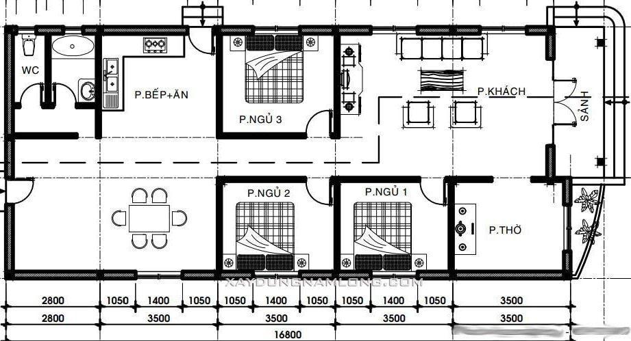 Bản thiết kế chi tiết bên trong ngôi nhà