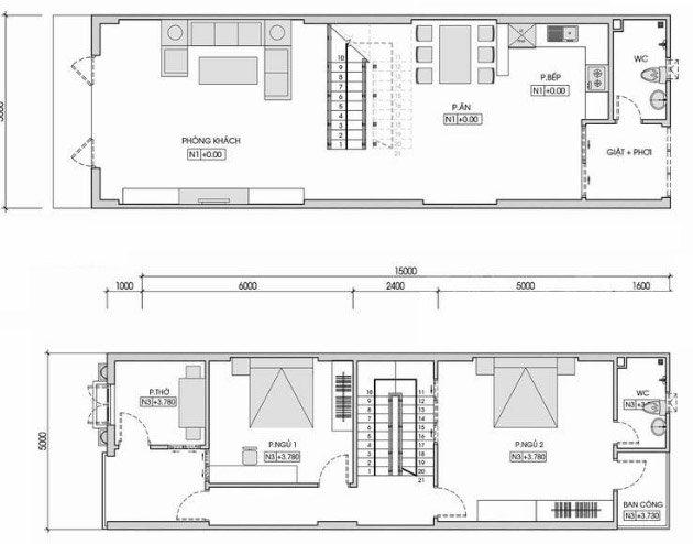 Bản vẽ cắt ngang tầng 1 và tầng 2 của ngôi nhà