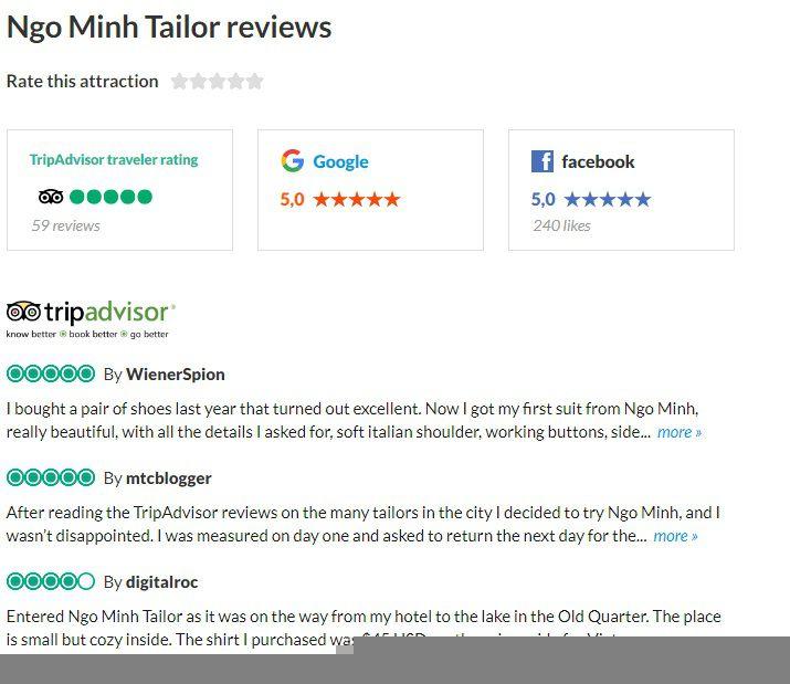 Danh gia cong dong du lich TripAdvisor ve nha may Ngo Minh Tailor
