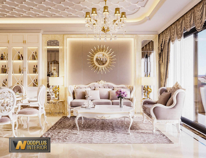 Ghe sofa dang cap trong khong gian phong khach tan co dien nha may Tuan Anh Hoa Binh