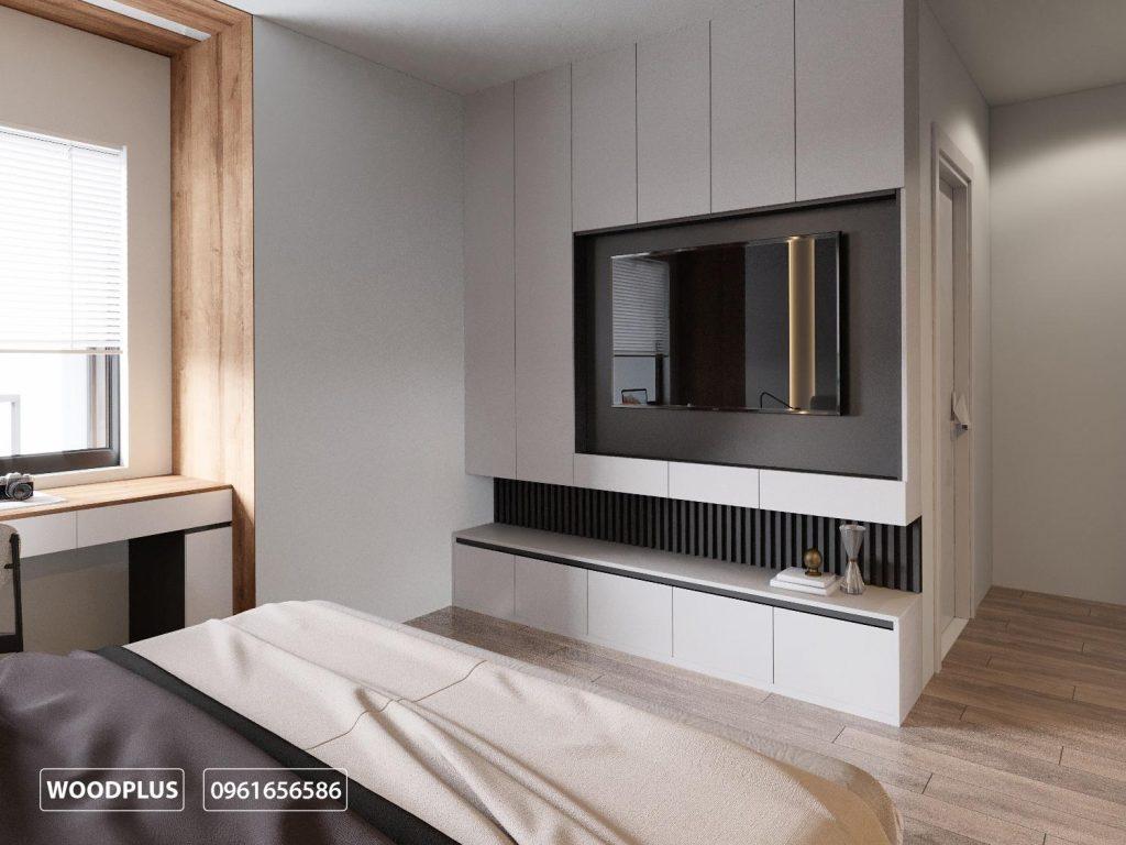 Hệ tủ tivi đẳng cấp và lạ mắt trong phòng ngủ master