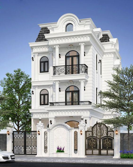 Mẫu nhà lầu đẹp kiểu biệt thự tân cổ điển