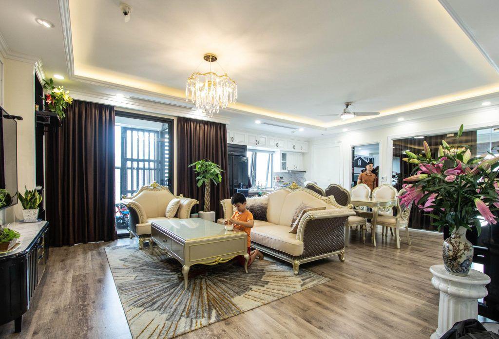 Thiết kế nội thất căn hộ phòng khách đẳng cấp tại căn hộ chung cư Imperia Minh Khai ceo Trần Thu Thủy