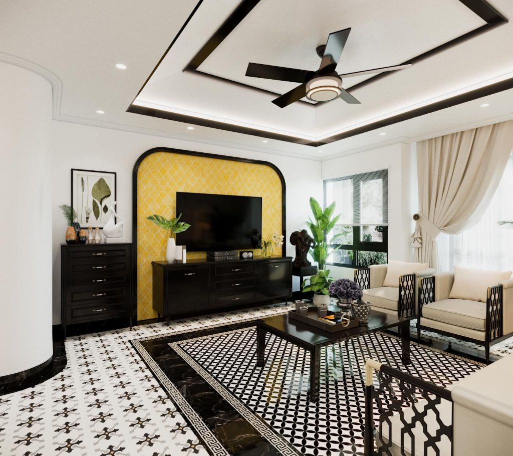 Thiết kế nội thất phòng khách nổi bật gia đình chị Hường EcoRiver