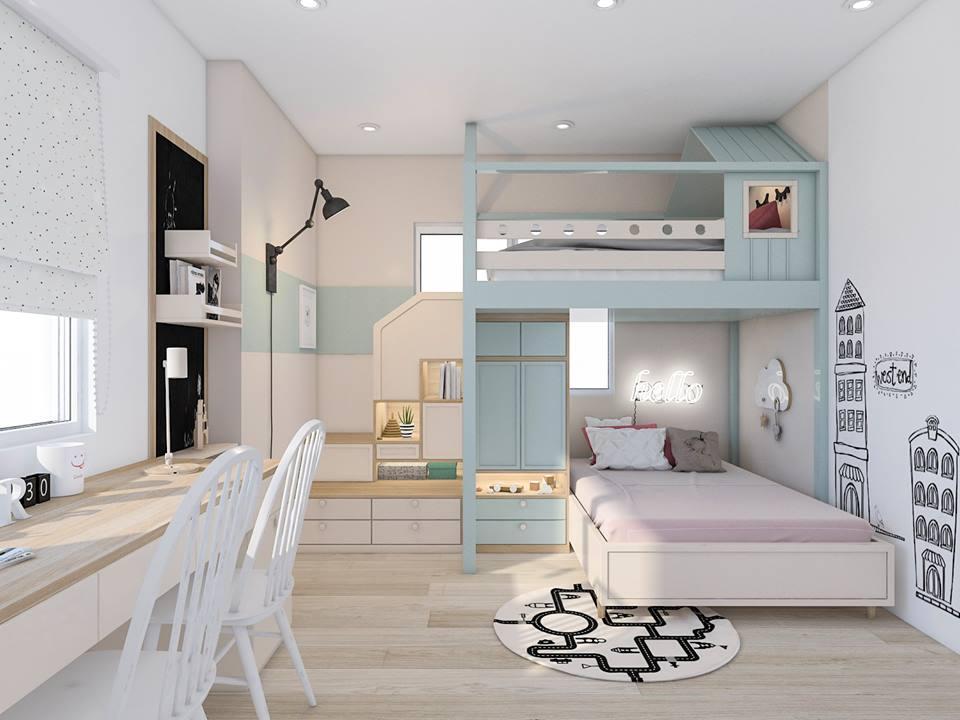 Phòng ngủ trẻ em với thiết kế nhẹ nhàng