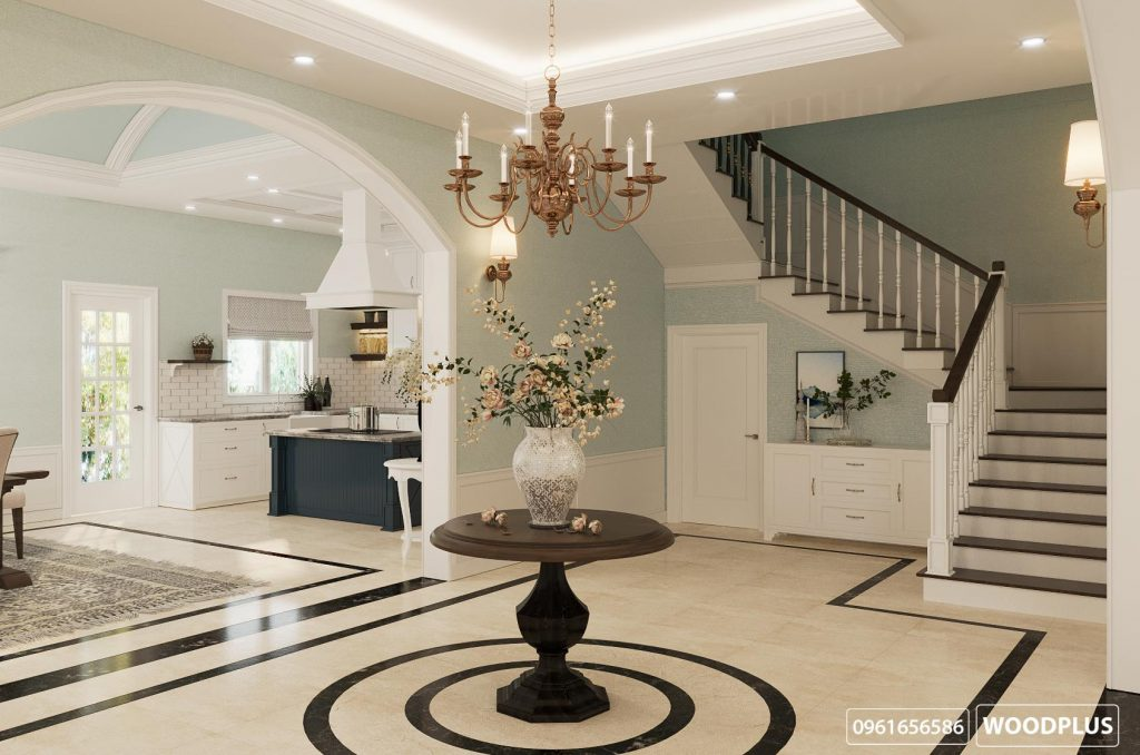 Thiết kế nội thất phòng khách với đại sảnh rộng rãi gia đình chị Hậu Bắc Ninh