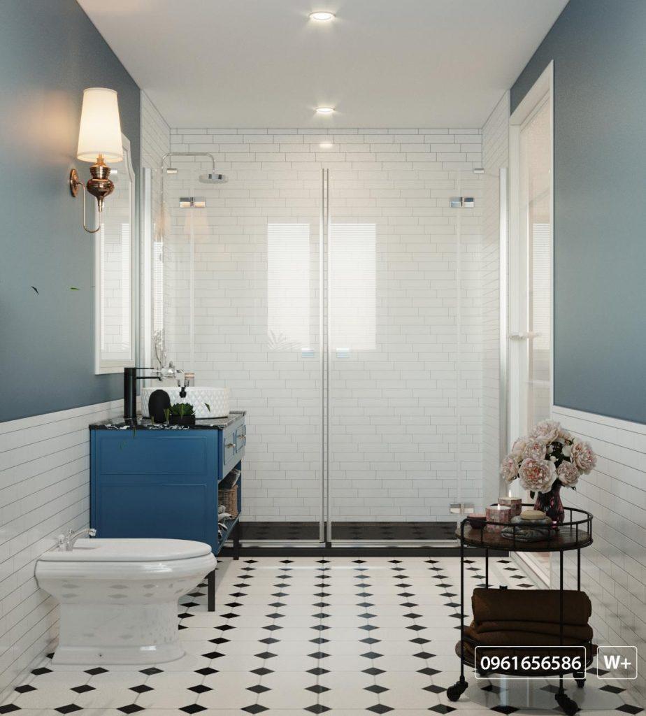 Thiết kế kiến trúc nhà vệ sinh sang trọng với phòng tắm trang bị vách kích