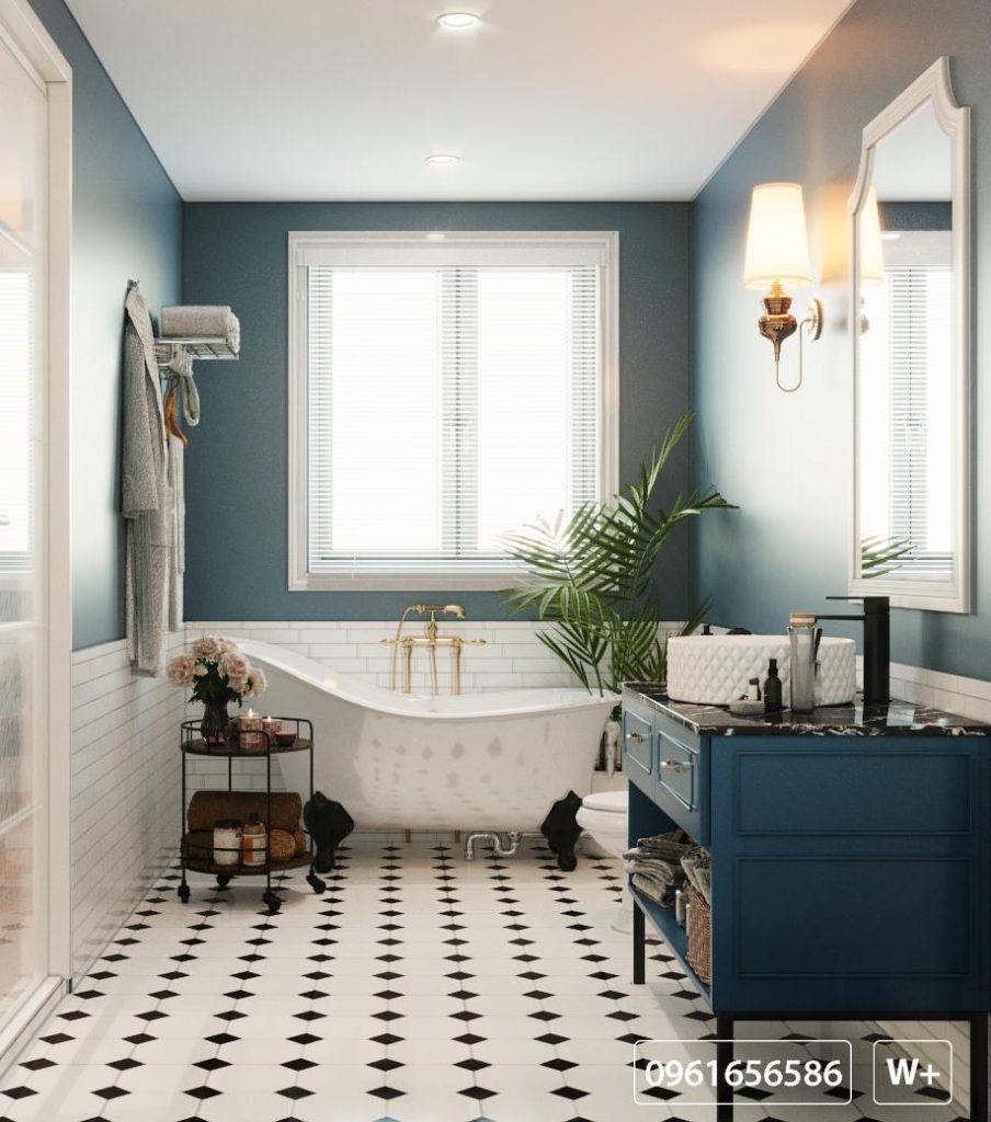 Thiết kế kiến trúc nhà vệ sinh sang trọng với phòng tắm trang bị bồn tắm thư giãn