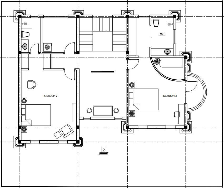 Không gian nội thất tầng 3 với 2 phòng ngủ trẻ em riêng biệt