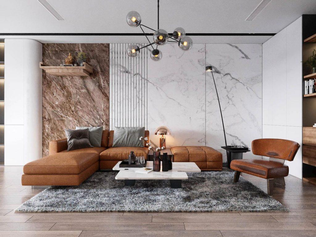 Phòng khách với bộ sofa bằng da đẳng cấp, vách tường vân đá sang trọng