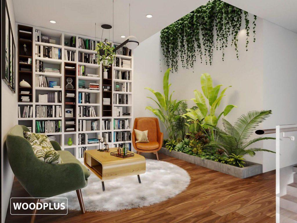Thiết kế phòng đọc sách đẹp với ngập tràn sắc xanh tại shop house kđt Thảo Nguyên EcoPark