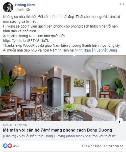 Youtuber Hoàng Nam tự hào về ngôi nhà đẹp của mình và cảm ơn đội ngũ ekip Nhà Đẹp WoodPlus đã thiết kế thi công nội thất trọn gói căn hộ nhà mình vô cùng xuất sắc