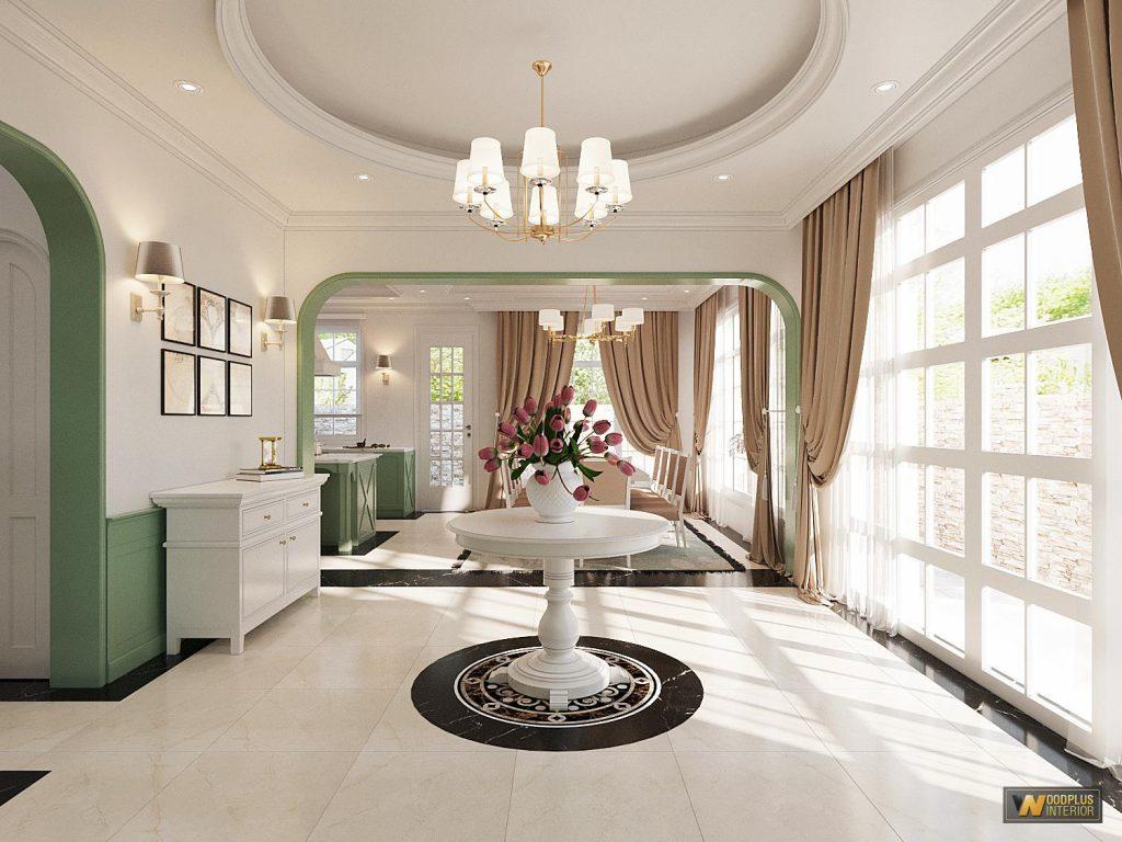 Đại sảnh với không gian mở kết nối với phòng bếp - phòng ăn gia đình chị Vân