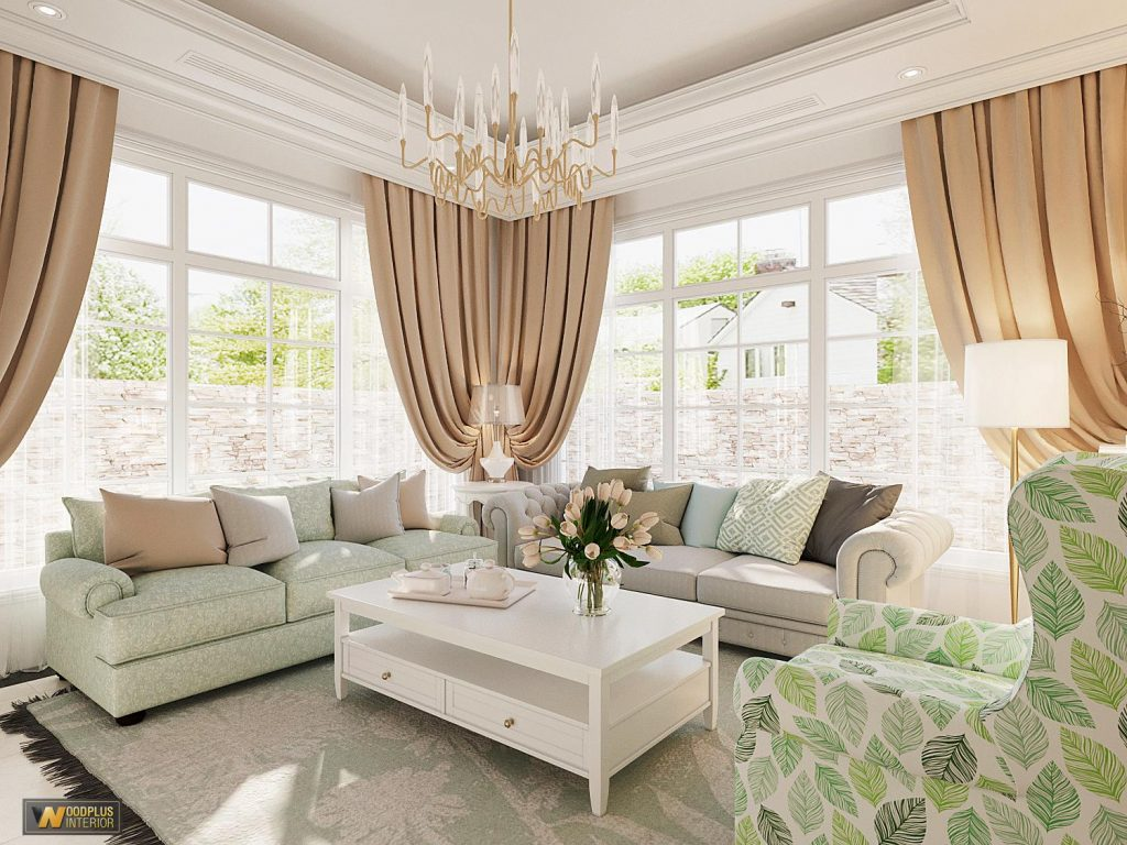 Thiết kế nội thất phòng khách với bộ sofa đẳng cấp tinh tế