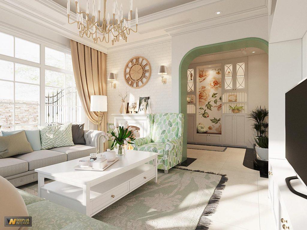Thiết kế Nội thất phòng khách biệt thự đẹp gia đình chị Vân KĐT Mimosa EcoPark