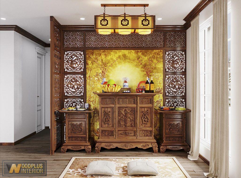Thiết kế nội thất phòng thờ biệt thự rất trang nghiêm thanh tịnh