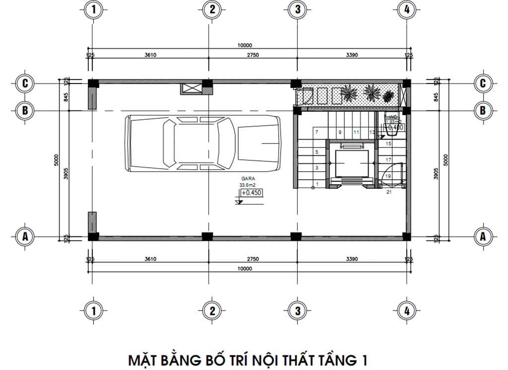 Không gian bố trí mặt bằng tầng 1 gia đình anh Trung