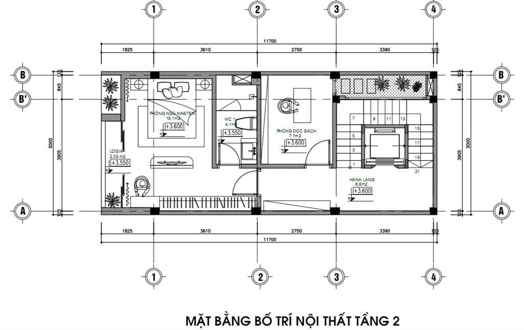Mặt bằng bố trí nội thất nhà phố tầng 2 gia đình anh Trung Vạn Phúc