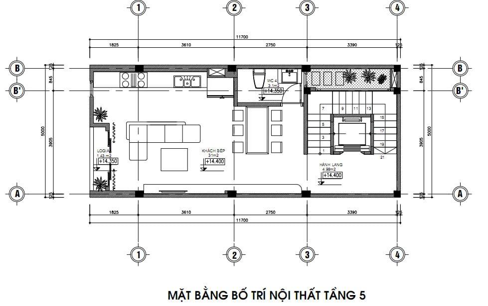 Mặt bằng bố trí nội thất nhà phố tầng 5 gia đình anh Trung Vạn Phúc