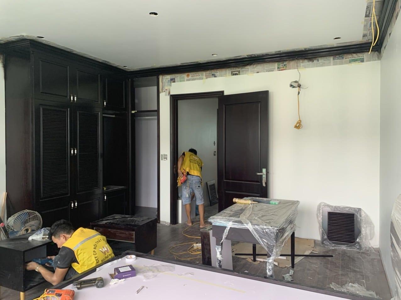 Thiết kế kiến trúc nội thất - thi công nội thất Ecopark Hải Dương - Lắp tủ phong cách Indochine