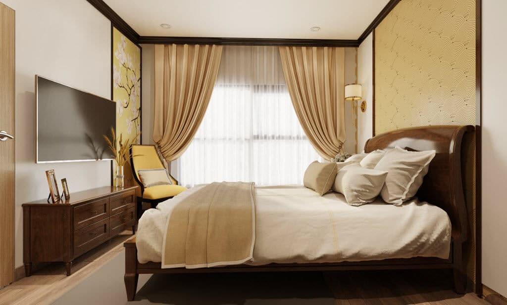 Phòng ngủ phong cách thiết kế nội thất Indochine Đông Dương Ceo Minh Thùy chung cư Vinhomes Ocean Park