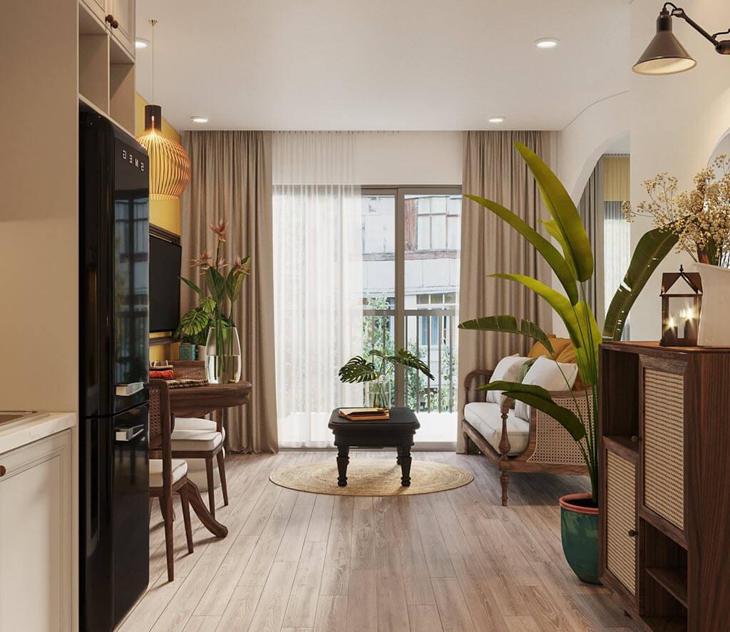 Thiết kế nội thất chung cư Vinhomes Ocean park phong cách indochine kết hợp Tropical chị Emily Nguyễn