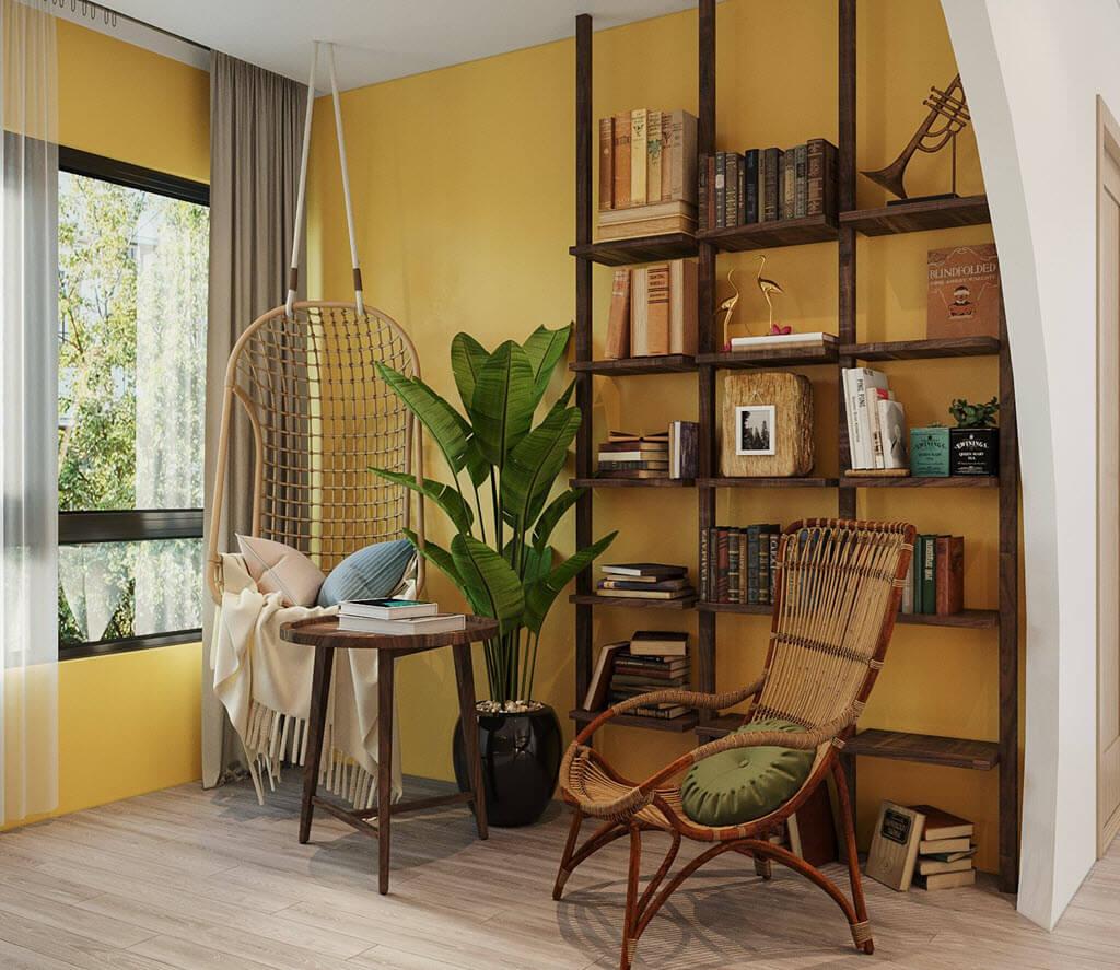 Thiết kế nội thất chung cư Vinhomes Ocean Park phong cách indochine kết hợp tropical gia đình chị Emily Nguyễn
