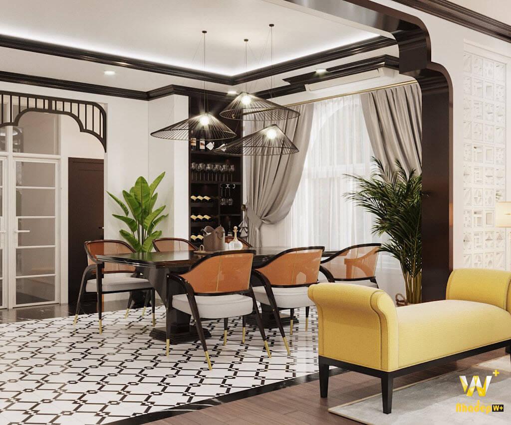 Khu vực phòng ăn theo phong cách nội thất indochine tinh tế