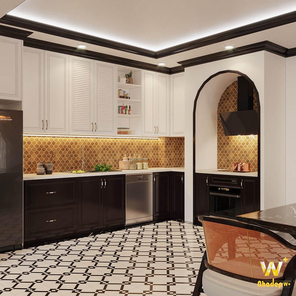 Thiết kế nội thất phòng bếp theo phong cách indochine (Đông Dương)