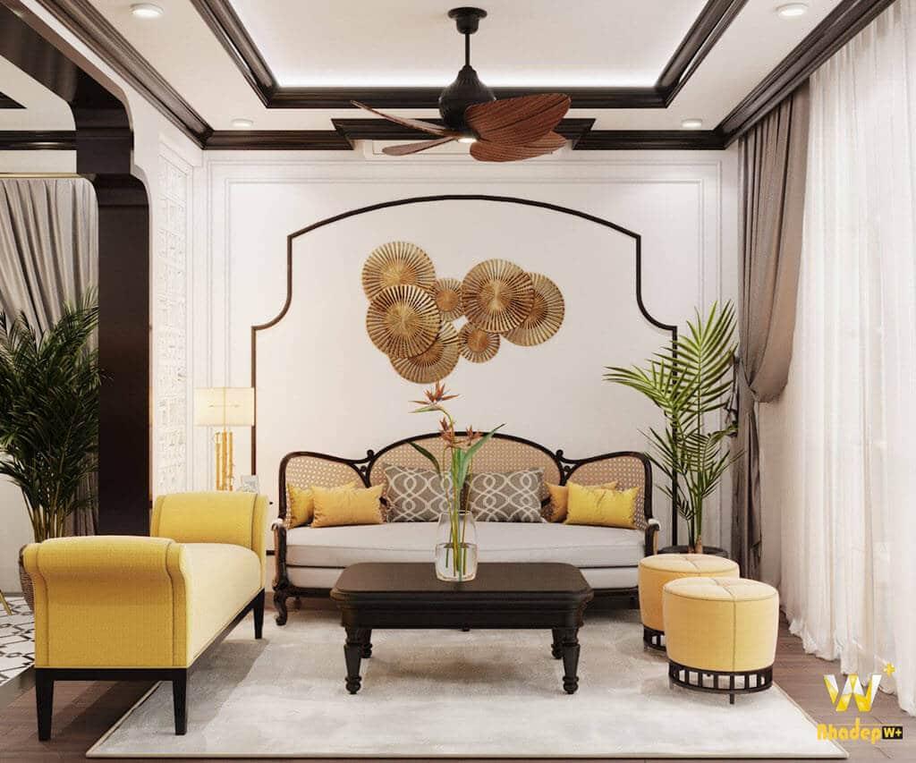 Thiết kế nội thất phòng khách theo phong cách indochine Á hậu Thanh Tú